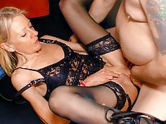 LETSDOEIT - German Granny In Lingerie Loves Her Boss Cock