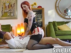 British redhead bouncing on seniors dick until he cums