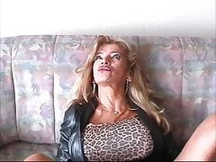 Backstage - Bigboobed Traudl Caff gets fucked by machine