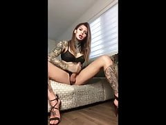 Stunning dickgirl jerks her cock & squirts cum on the floor