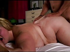 Beautiful busty blonde BBW banged and blasted with cum