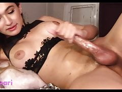 Young Hung Shemale with Giant Dildo in Ass Cums and Eats