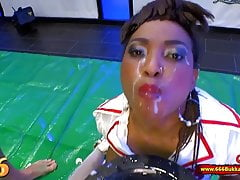 Mimi the Black Nurse is thirsty for Piss and Cum - 666Bukkak