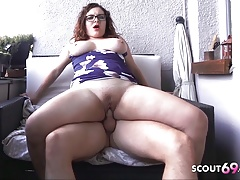 Curvy Swinging Tits Teen with Glasses Fuck on Balcony German