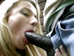 Italian blonde MILF fucks African