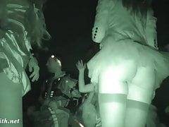 Crazy Halloween bottomless. Upskirt and real hidden cam