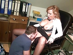 Big Natural Tits MILF Seduce Young Boy to Fuck German