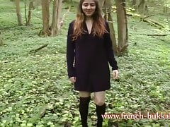 French girl gets fucked by 3 black men in the woods